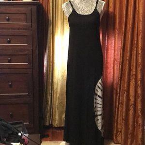 Raviya black tank maxi dress, white tie-dye detail